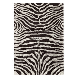 "Nourison - Nourison Splendor Animal Prints Shag Zebra Black White 7'6"" x 9'6"" Rug by RugLot - Create an atmosphere of casual elegance with these marvelous solid and patterned shag rugs. Get a groove going in your interiors with these updated, vibrant, multi-hued, atmospheric colors. This collection is perfect for a variety of decors, from contemporary to eclectic."