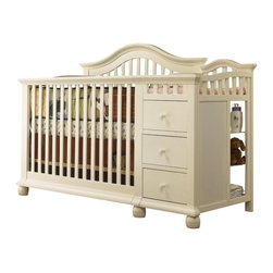 Sorelle Cape Cod Crib N Changer, French White - This crib is awesome. First, it's gorgeous. And second, it converts into a bed, with the dresser part serving as a detachable end table.