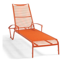 Grandin Road - Belize Outdoor Outdoor Chaise Lounge Lounge - Crafted for season after season of blissful days on the patio or pool deck. Durable PVC lashing is expertly hand-wrapped around a lightweight, yet sturdy, aluminum frame. Chaise quickly and easily adjusts to five positions, including completely flat, for all-day comfort. Conveniently stacks for storage. Treated with a durable all-weather powdercoat to resist the effects of the elements. Spend one sun-splashed day after the next in the chic, stackable Belize Outdoor Chaise Lounge. Resort-inspired style and comfort, with no cushion (or airfare) required. The same sleek and brightly colored haven you might encounter on a tropical getaway, made for your own backyard.  .  .  .  .  .