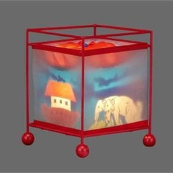 Natural Design House - Meme Magic Revolving kids Lamp - MEME MAGIC LAMP METAL FRAME with 4 BALL FEET IN RED, NOAH'S ARK DESIGN, W/RED PVC TURBINE TOP, T/C RED TAPINGS AT TOP & BOTTOM