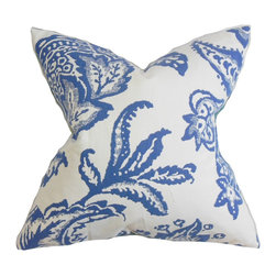 The Pillow Collection - Galen Floral Pillow Blue - This accent pillow adds a sense of lightness to your interiors with its refreshing detail. The bright blue floral pattern adorns the stark white background. Toss this square pillow anywhere inside your home where it needs texture and dimension. Mix and match with solids and other patterns to create a well-decorated space. Hidden zipper closure for easy cover removal.  Knife edge finish on all four sides.  Reversible pillow with the same fabric on the back side.  Spot cleaning suggested.