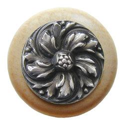 """Inviting Home - Chrysanthemum Natural Wood Knob (clear finish with antique pewter) - Chrysanthemum Natural Wood Knob in clear finish with hand-cast antique pewter insert; 1-1/2"""" diameter Product Specification: Made in the USA. Fine-art foundry hand-pours and hand finished hardware knobs and pulls using Old World methods. Lifetime guaranteed against flaws in craftsmanship. Exceptional clarity of details and depth of relief. All knobs and pulls are hand cast from solid fine pewter or solid bronze. The term antique refers to special methods of treating metal so there is contrast between relief and recessed areas. Knobs and Pulls are lacquered to protect the finish. Alternate finishes are available."""