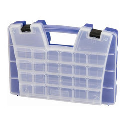 Akro Mills - Large Portable Organizer w Frost Lid in Blue - Includes removable dividers. Two separate storage compartment levels. Unique design. Lid storage. 12 to 62 departments. Molded in feet allows case to stand upright. Main compartment holds larger and bulky items. Separate lid compartment. 13.7 in. L x 3.6 in. W x 15.1 in. H