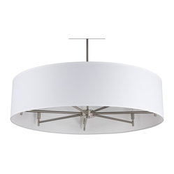 Walker 7-Arm Chandelier Drum Pendant, White Linen