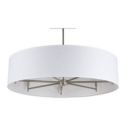 Lights Up! - Walker 7-Arm Chandelier Drum Pendant - White Linen - Light up your modern home with an elegant seven-arm drum chandelier. Choose from a sophisticated black or white shade to create a flattering glow. Hang it above your minimalist dining room table for an ultrachic look.