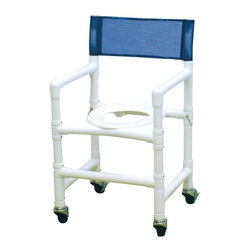 "MJM International - Standard Deluxe Folding Capacity Shower Chair with Optional Accessories - Features: -Manufactured of healthcare grade PVC pipe and fittings. -Contoured frame, no sharp edges, to avoid skin breaks during transfers. -Reinforced at all stress related areas. -Deluxe elongated open front seat ideal for both male and female. -Needs heavy duty threaded stem casters. -2 lock and 2 non lock 3"" casters for easy maneuverability and transferring. -Anti-slip safety hand grips. -Rust proof casters. Specifications: -Internal Width: 18"". -External Width: 20"". -Threaded Stem Casters: 3"" x 1 1/4"". -Seat Height: 21"". -Folded Width: 5"". -Folded Length: 37"". -Weight Capacity: 250 lbs. -Overall Dimensions: 37"" H x 20"" W x 19"" D."
