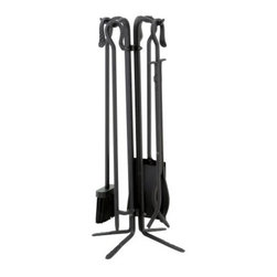 Uniflame Wrought Iron Fireplace Tool Set - This beautiful Five Piece Wrought Iron Tool Set will bring beauty and character to your fireplace. The grouping comes with a stand tongs broom poker and shovel. All pieces are topped with classic crook handles making them attractive as well as useful. Hand forged of wrought iron this handsome collection was built to last.About Blue Rhino/Uniflame/Endless Summer: Blue Rhino Global Sourcing Inc. is America's #1 propane tank exchange brand but it doesn't stop there. Blue Rhino is a leading designer and marketer of outdoor appliances and fireplace furnishings. These products include barbecue grills outdoor heaters outdoor fireplaces mosquito traps and fireplace furnishings. You'll find a Blue Rhino product in the middle of half a billion barbecue events nationwide every year. They come under various brand names including UniFlame Endless Summer and SkeeterVac.