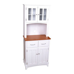 Home Styles - Brook Microwave White Cabinet - BROOK MICROWAVE CABINET - Shop for Pantries from Hayneedle.com! The Brook Microwave Cabinet - White makes a wonderful functional accessory in your kitchen. It features shelving space on the upper and lower parts of the cabinets. Upper shelves are enclosed in two cross-paned glass doors while the lower storage area has two opaque doors. Sandwiched between these doors is the space to accommodate your microwave along with two drawers below this space. This is a wonderful addition to your kitchen.