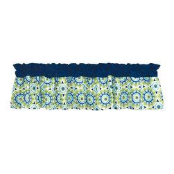 Waverly Baby - Waverly Baby Solar Flair Window Valance - 71002 - Shop for Window Treatments from Hayneedle.com! It's always a sunny day when your little one is looking out a nursery window framed by the Trend Lab Waverly Baby Solar Flair Window Valance. This pretty valance adds the finishing touch to your nursery with solid estate blue across the top and a medallion print mixing blues greens and a splash of primrose yellow on the bottom. The cotton valance cleans easily in the washing machine and coordinates with the Solar Flair Collection from Waverly Baby by Trend Lab.About WaverlyWaverly launched in 1923 and grew to be a premier home fashion and all-encompassing lifestyle brand. They're now one of the most recognized names in home furnishings. With a signature look that's expertly translated into countless classic styles among home furnishing products their assortment includes wall coverings paint bedding window treatments decorative accessories and other key products.
