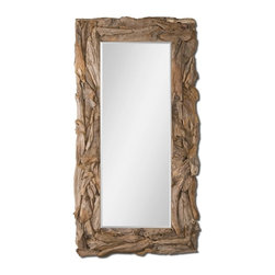 "Matthew Williams - Matthew Williams Teak Root Natural Floor Mirror X-72050 - This stately mirror features a natural, unfinished, sculpted teak root frame. Mirror has a generous 1 1/4"" bevel. May be hung either horizontal or vertical."