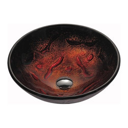 Kraus - Kraus GV-710 Lava Glass Vessel Sink, No Pop-Up Drain, 6 X 16.5 X 16.5 - The unique patterns as well as the striking colors make this sink a great addition to any bathroom
