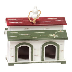 Wood Bird House w/ Red and Green Roof Rope Hanger - White - *Wood Bird House with Red and Green Roof Rope Hanger and 2 Entrances White