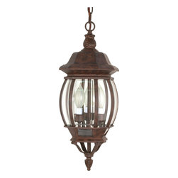 """Nuvo Lighting - Transitional Three Light Up Lighting Outdoor PendantCentral Park Collection - Central Park - 3 Light - 20"""" - Hanging Lantern - w/ Clear Beveled Glass"""