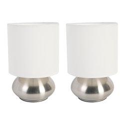Lightaccents - Bedroom Table Lamp with On/ Off Touch Sensor, Brushed Steel, 2-Pack - Brighten up your living area with the Versailles table lamps. Enjoy lighting made easy with the On/Off touch control feature. The trendy design is complimented by a satin shade and metal body.
