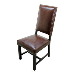 Weston Leather Side Chair - Weston Leather Side Chair. Beautiful dark brown leather and a solid wood base and finished with brass studs.