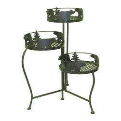 Zeckos - Brown Metal Bear Silhouette 3 Level Metal Plant Stand - This wonderful wrought iron Bear Silhouette 3 tier plant shelf  can be used indoors or out, and looks great on a patio or porch. The shelf measures 48 inches tall, 13 1/4 inches wide and 13 1/4 inches deep, and folds flat for storage when not in use. It has a brown enamel finish to match most color patterns. It makes a great gift.