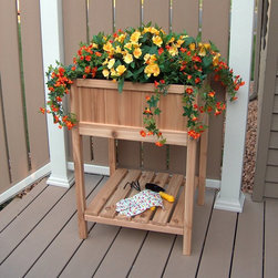 Prairie Leisure - Prairie Leisure Spring Garden Raised Planter with Liner - 53-UNFINISHED - Shop for Planters and Pottery from Hayneedle.com! Let your spring blooms blossom in the Prairie Leisure Spring Garden Raised Planter with Liner. This lovely planter is constructed of western red cedar and comes in a variety of colors. Perfect for use outdoors featuring an interior liner and lower shelf. About Prairie LeisureLocated in Pierz Minn. Prairie Leisure Design manufactures casual outdoor furniture. Their products have a traditional design and are made in the USA from Red Cedar or Aspen a North American hardwood. They offer a wide variety of products designed for every age group: elderly adults juniors and kids. Ideal for relaxing and socializing in the great outdoors Prairie Leisure Design furniture adds comfort and style to any backyard or patio.