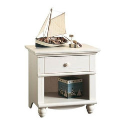 Sauder - Harbor View Nightstand in Antique White Finis - Drawer with metal runners and safety stops. feature the patented T-slot assembly system. Open shelf provides additional storage. Detailing includes solid wood knob and turned feet. Made of engineered wood. Assembly required. 27 in. W x 19 in. D x 26 in. H