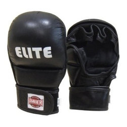 Amber Sports Elite MMA Striking Training Gloves - The Amber Sports Elite MMA Striking Training Gloves lets you incorporate strikes and grappling moves for mixed martial-arts, wrestling, and boxing matches. The gloves feature a curved mitt, open-palm design with a separate padded compartment for the thumb. The padding features a soft top-grain black leather upholstery with a moisture-reducing inner lining. Hook-and-loop closures snugly secure the mitts to your hands and wrists. Regular and large sizes are available.About Amber Sporting Goods, Inc.Dedicated to bringing athletes and enthusiasts the best in training equipment for a variety of competitive sports, Amber Sporting Goods offers everything from boxing accessories to kickboxing equipment, from martial arts training products to soccer goods. No physical training stone is left unturned as Amber Sporting Goods strives to create the market's threshold for quality and innovation. From karate to boxing, Amber Sporting Goods has you covered.