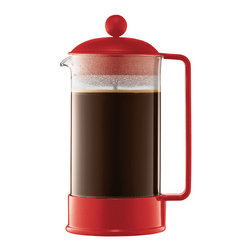 BODUM - Red 34-Oz. French Press Coffee Maker - This dishwasher-safe coffee maker features a stainless steel press and an easy-grip handle, so you can pour that first cup of joe with ease. �� Holds 34 oz. Glass / plastic / stainless steel Dishwasher-safe Imported