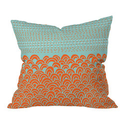 DENY Designs - Budi Kwan The Infinite Tidal Light Blue Outdoor Throw Pillow, 16 x 16 x 4 - Do you hear that noise? It's your outdoor area begging for a facelift and what better way to turn up the chic than with our outdoor throw pillow collection? Made from water and mildew proof woven polyester, our indoor/outdoor throw pillow is the perfect way to add some vibrance and character to your boring outdoor furniture while giving the rain a run for It's money.