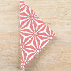 """Pine Cone Hill - PCH Kala Coral Napkins Set of 4 - The Kala napkins complement a dining table with fresh, worldly style. A dazzling coral pink and white geometric pattern pops on this stunning PCH design.  22""""W x 22""""H; Set of four; 60% linen, 40% cotton; Machine wash; Designed by Pine Cone Hill, an Annie Selke company"""