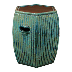 China Furniture and Arts - Bamboo Motif Porcelain Garden Stool - With an antique drip-mottled glaze finish, our handcrafted earthenware pedestal was adopted from those originally used in the temple gardens in the Far East. The hand-applied finish creates variations in its color making each seat distinct with individual signature. It features a minimalistic bamboo motif and 2 handles for ease of transport. Can be used indoors and outdoors as an end table or as pedestal. Imported.