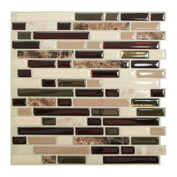 Smart Tiles Bellagio Mosaik Peel-and-Stick Wall Tile - I love this backsplash with white cabinets. The dark browns paired with the creamy tans are gorgeous.