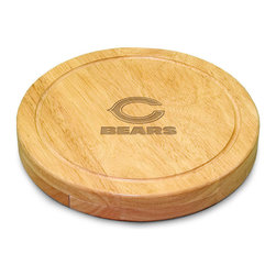 "Picnic Time - Chicago Bears Circo Cheese Board in Natural Wood - The Circo by Picnic Time is so compact and convenient, you'll wonder how you ever got by without it! This 10.2"" (diameter) x 1.6"" circular chopping board is made of eco-friendly rubberwood, a hardwood known for its rich grain and durability. The board swivels open to reveal four stainless steel cheese tools with rubberwood handles. The tools include: 1 cheese cleaver (for crumbly cheeses), 1 cheese plane (for semi-hard to hard cheese slices), 1 fork-tipped cheese knife, and 1 hard cheese knife/spreader. The board has over 82 square inches of cutting surface and features recessed moat along the board's edge to catch cheese brine or juice from cut fruit. The Circo makes a thoughtful gift for any cheese connoisseur!; Decoration: Engraved; Includes: 1 cheese cleaver (for crumbly cheeses), 1 cheese plane (for semi-hard to hard cheese slices), 1 fork-tipped cheese knife, and 1 hard cheese knife/spreader"