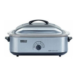 Metal Ware Corp. - Nesco 18Qt Stainless Steel Roaster - Nesco 4818-25-20 18 Qt. Stainless Steel Roaster with a Stainless Steel Cookwell for Commercial Food Prep. Large cooking capacity holds up to a 22 Lb turkey or ham (includes a cooking rack. 1425 Watts of power to do everything that your oven can do except broil. It bakes steams and slow cooks. Circle Of heat (TM)heating element cooks from the sides for moist even cooking.