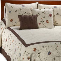 Nostalgia Home - Ambria Chocolate Bedspread - Handmade bedspread with chain-stitch embroidery on the drop of the bedspread will be a lovely addition to your bedroom. The multi color floral vine embroidery is accented with a rich chocolate brown.