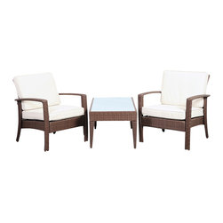 International Home Miami - Atlantic Corfu Deluxe 3 Piece Wicker Conversation Set Brown w/ Off-White Cushion - Corfu Deluxe 3 Piece Wicker Conversation Set Brown with Off-White Cushions belongs to Atlantic Collection by International Home Miami Great quality, stylish design patio sets, made of aluminum and synthetic wicker. Polyester cushion with water repellant treatment. Enjoy your patio with elegance all year round with the wonderful Atlantic outdoor collection.  Armchair (2), Coffee Table (1)