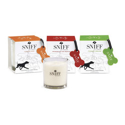 "Sniff Scented Candles - I love these ""Sniff"" aromatherapy candles for dogs. Made from organic natural essences, these can help soothe your dog and fill your home with all-natural essential oils like lavender and sandalwood."