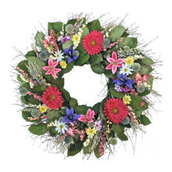 Grandin Road - Spring Into Summer Wreath - Wonderful door, wall, or mantel decoration made for year-round display. Handcrafted from air-dried and silk florals, plus natural twigs, with a metal base. For indoor display, away from moisture and direct sunlight. Arrives ready to hang. Bring your walls to life, with an entire garden full of natural color and beauty, using our vibrantly hued Spring Into Summer Wreath. Just hang and enjoy-our professional floral designers have done the artful arranging for you. A delightful mix of dried and silk florals, foliage, and natural quail brush twigs is securely attached to a sturdy metal clamp ring. Each wreath is meticulously and individually crafted, so no two are exactly alike.  .  .  .  .