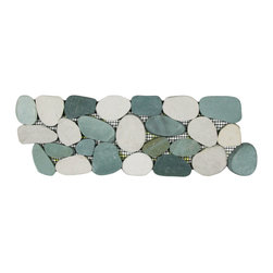 CNK Tile - Sliced Sea Green and White Pebble Tile Border - Each pebble is carefully selected and hand-sorted according to color, size and shape in order to ensure the highest quality pebble tile available. The stones are attached to a sturdy mesh backing using non-toxic, environmentally safe glue. Because of the unique pattern in which our tile is created they fit together seamlessly when installed so you can't tell where one tile ends and the next begins!