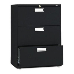 HON 600 Series 30 Inch Three Drawer Lateral File - Add convenience and storage to your office space with the HON 600 Series 30-Inch Three-Drawer Lateral File. This wide file cabinet has three generously sized drawers that hold both letter and legal folders. A lock at the top controls all openings, and the mechanical interlock feature allows only one drawer to open at a time to prevent the file cabinet from tipping.Designed for intense daily use, this file cabinet has a three-part telescoping slide suspension, and leveling glides are adjustable for uneven floors. It is available in your choice of putty, black, light gray, or light charcoal finish. Delivered fully assembled. Dimensions: 30W x 19.25D x 40.87H inches.About the HON CompanyHeadquartered in Muscatine, Iowa, the HON Company is established as a leader in the office furniture industry. The HON Company designs and manufactures products including chairs, files, panel systems, tables, and desks. With several national manufacturing facilities, the company provides products through a system of dealers and retailers throughout the United States.As the landscape of today's office and classroom continues to change with new technologies, the HON Company has created office furniture, teacher stations, and student desks that anticipate and adapt to the newest waves of high-tech products. Additionally, in an effort to think and act green, the HON Company uses less packing material, reduces their amount of fabric waste, and uses recycled wood from other furniture.