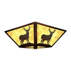 Wildlife Decor LLC - Rustic Square Ceiling Light, Rust- Amber Mica, Deer - Square ceiling light with Deer design gives your