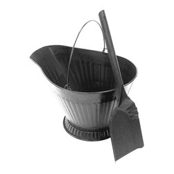 Landmann - Coal Hod with Shovel - Sturdy steel coal hod holds about 3 gallons of ashes . Great for shuttling ashes or for storing wood, kindling or pellets. Features corrugated sides for strength