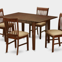 """East West Furniture - Milan 5Pc Set with Dining Table and 4 Norfolk Cushioned Seat Chairs - Milan 5Pc Set with Rectangular 36 X 54 Table with 12 In Butterfly Leaf and 4 Cushioned Seat Chairs; Rectangular dining table is designed in contemporary style with clean angles and sleek lines.; Table and chairs are crafted of fine Asian solid wood for quality and longevity.; Chairs are available with either wooden seats or upholstered seats to suit preference and desired motif.; Table features a standard butterfly leaf for convenient extension.; Ladder back chair style is sturdy, durable, and is ideal for classic decor in any kitchen or dining room.; Dinette sets are available in either rich Mahogany or exquisite Saddle Brown finish.; Weight: 137 lbs; Dimensions: Table: 42 - 54""""L x 36""""W x 29.5""""H; Chair: 18""""L x 17""""W x 36.5""""H"""
