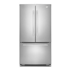 """Whirlpool - GX5FHTXVY Gold 36"""" 24.8 cu. ft. French Door Refrigerator with SpillProof Shelves - The ENERGY STAR qualified 25 cu ft bottom freezer refrigerator The French doors open to reveal an easy access interior with a full-width pantrythat can accommodate everything from pizza to cake The exclusive can caddy holds and dispenses a 12-pack be..."""
