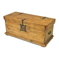 Rustic Pine Coffee Table Trunk - This rustic pine trunk coffee table is the ideal storage solution. Handcrafted from solid kiln-dried pine and accented with rustic iron hinges, handles and a locking latch. Shipping Included.