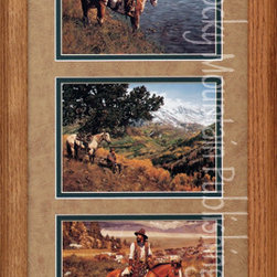 Rocky Mountain Publishing - Tennant Western, Craig Tennant Cowboy Art Framed Set - Life  in  the  dessert  can  be  beautiful  as  seen  in  the  cowboy  art,  Tennant  Western  Triple.  This  combination  of  western  cowboys  portrayed  in  various  landscapes  is  a  great  addition  to  any  decor.  With  horse  and  rider  seen  in  by  the  river,  enjoying  the  majesty  of  the  mountains,  and  simply  riding  the  trail  adds  a  sense  of  tranquility  to  western  times.  This  is  the  perfect  western  painting  to  add  to  your  collection.                  Dimensions:  Glass  and  Matting  measure  10x20  inches;  Exterior  Frame  dimensions  approximately  16x26  inches              Handsomely  matted  and  framed;  Glass  included              Hardware  for  hanging  is  pre-installed              Treated  with  a  protective  coat  of  acid-free  sealant              Artist:  Craig  Tennant;  Allow  2  weeks  for  shipping