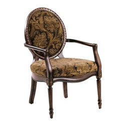 Comfort Pointe - Madison Accent Chair - Made from solid wood. Victorian style. Intricate detailed hand carvings. Fluted front legs. Black, gold and brown paisley chenille fabric upholstery. Cherry finish. Warranty: One year limited. Assembly required. Seat height: 20 in.. Overall: 31 in. W x 26 in. D x 41 in. H (28.15 lbs.)This hand carved accent chair brings with it an element of elegance. The finish with gold highlights is complimented by the exquisite chenille fabric used for the cushion. This chair is sure to be a staple in your home for years to come.