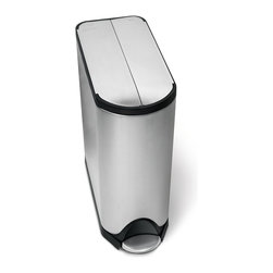 simplehuman - 40 Litre Butterfly Recycler - Don't let cramped quarters keep you from recycling. This pedal-activated can features a space-saving butterfly lid that requires less clearance. Inside, you'll find two buckets — one for trash, one for recyclables. Special patented technology ensures a silent closing every time.