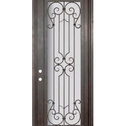 "Milano 36x96 Wrought Iron Single Door 14 Gauge Steel - ""SKU#    PHBFMSR4Brand    GlassCraftDoor Type    ExteriorManufacturer Collection    Buffalo Forge Steel DoorsDoor Model    MilanoDoor Material    SteelWoodgrain    Veneer    Price    3850Door Size Options      $Core Type    one-piece roll-formed 14 gauge steel doors are foam filled  Door Style    TraditionalDoor Lite Style    Full LiteDoor Panel Style    Home Style Matching    Mediterranean , Victorian , Bay and Gable , Plantation , Cape Cod , Gulf Coast , ColonialDoor Construction    Prehanging Options    PrehungPrehung Configuration    Single DoorDoor Thickness (Inches)    1.5Glass Thickness (Inches)    Glass Type    Double GlazedGlass Caming    Glass Features    Insulated , TemperedGlass Style    Glass Texture    Clear , Glue Chip , RainGlass Obscurity    Door Features    Door Approvals    Wind-load RatedDoor Finishes    Three coat painting process"