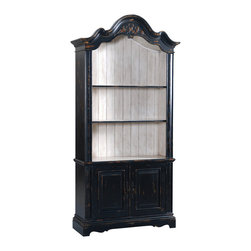 Ambella Home - Fairfield Bookcase - This antique ebony-finished bookcase features two adjustable shelves that will stylishly hold any collection you hold dear. You can use it in the library, dining room or even the kitchen to add a little drama.