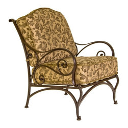 O.W. Lee - O.W. Lee Ashbury Aluminum Club Chair - 1581-CC-SP11-GL02A - Shop for Chairs and Sofas from Hayneedle.com! Hearts nothing it's the king and queen of clubs who really know how to have a good time; and with the O.W. Lee Ashbury Club Chair on hand you'll be sure to have a full house whenever you invite your friends over. This large comfortable chair provides an outdoor seating experience that will make you and your guests feel like royalty. The beautiful scrollwork adds to your outdoor decor a classic appeal that also possesses a fashion-forward individuality. This sensually curving metalwork is hand forged and hammered bringing a uniquely masterful craftsmanship to these chairs. As you sink comfortably into the deep wide seat sturdy arms and thick cushions your company will happily follow suit.Materials and construction: Only the highest quality materials are used in the production of O.W. Lee Company's furniture. Carbon steel galvanized steel and 6061 alloy aluminum is meticulously chosen for superior strength as well as rust and corrosion resistance. All materials are individually measured and precision cut to ensure a smooth and accurate fit. Steel and aluminum pieces are bent into perfect shapes then hand-forged with a hammer and anvil a process unchanged since blacksmiths in the middle ages. For the optimum strength of each piece a full-circumference weld is applied wherever metal components intersect. This type of weld works to eliminate the possibility of moisture making its way into tube interiors or in a crevasse. The full-circumference weld guards against rust and corrosion. Finally all welds are ground and sanded to create a seamless transition from one component to another. Each frame is blasted with tiny steel particles to remove dirt and oil from the manufacturing process which is then followed by a 5-step wash and chemical treatment resulting in the best possible surface for the final finish. A hand-applied zinc-rich epoxy primer is used to cr