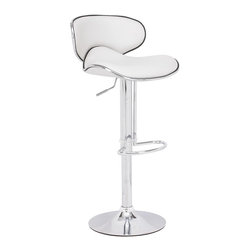 Zuo Modern - Fly Bar Stool , White - The Fly Bar stool has a sleek modern look that makes an excellent addition to any contemporary table or counter area. Fly bar stool boasts a sturdy steel frame and offers comfort with its body contoured seat. The seat and seat back are covered in an optional black, espresso, gray or white leatherette. The Fly Barstool's seat height is adjustable, enabling you to customize the height to best work with your own table or counter.