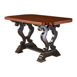 Lexington Home Brands - Sienna Bistro Table - A balance of point and counterpoint defines the bistro table, with the hand-hewn plank top balanced by more formal scrolling in the base and the warm burnished Cassis finish above that glows against the dark Tamarind finish below.