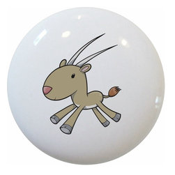 Carolina Hardware and Decor, LLC - Baby Antelope Ceramic Cabinet Drawer Knob - 1 1/2 inch white ceramic knob with one inch mounting hardware included.  Great as a cabinet, drawer, or furniture knob.  Adds a nice finishing touch to any room!